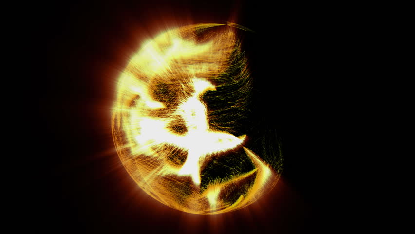 Shining flows of fiery particles fill the space on black background and turn to spherical shaped like the sun. 3D motion graphics element, 4K abstract animation.