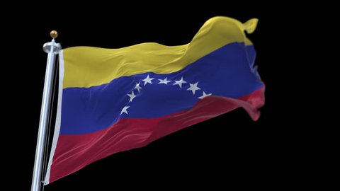4k seamless Venezuela flag waving in wind.A fully digital rendering,The animation loops at 20 seconds.flag 3D animation with alpha channel included. cg_06284_4k