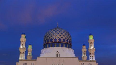 Time-lapse of moving cloud during sunset at  Likas Mosque(Masjid Bandaraya Likas), Kota Kinabalu, Sabah, Malaysia.