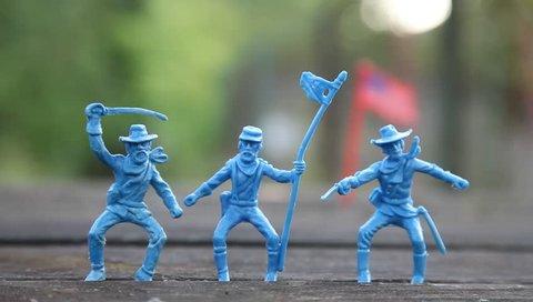 Toy soldiers, american warriors, confederate soldiers.  Confederates. Retro, vintage
