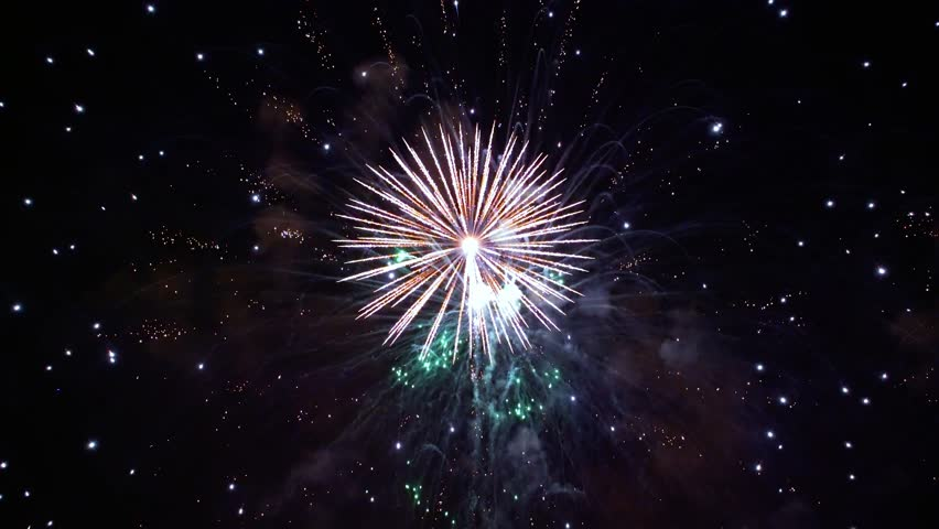 Colorful fireworks exploding in the night sky. Celebrations and events in bright colors. | Shutterstock HD Video #1013231828