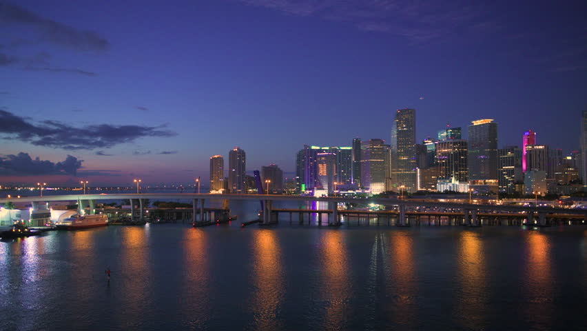 Miami, Florida, USA downtown skyline from the water at night.