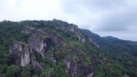 Amazing beauty of stone mountain cluster gunungkidul Volcano Purba Nglanggeran Yogyakarta