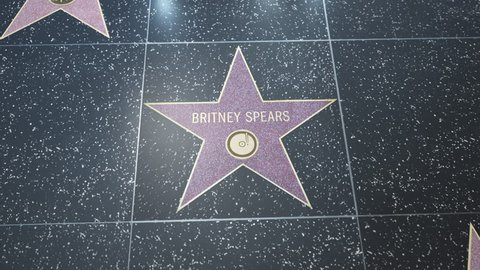 Hollywood, CA, USA - 05/03/18: Hollywood Walk of Fame star with Britney Spears inscription.