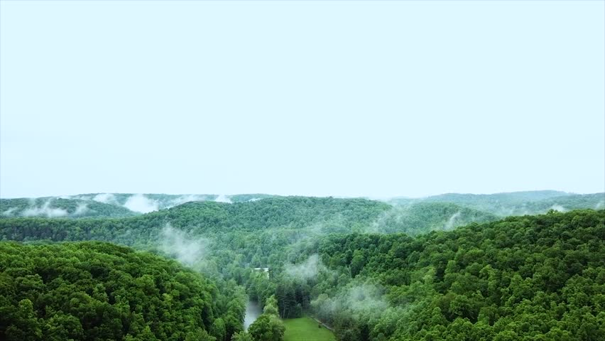 Drone footage of the Smoky Mountains in West Virginia in the mid-afternoon.