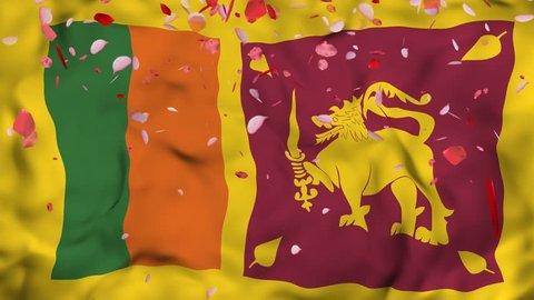 4k Realistic 3D detailed slow motion Sri Lanka flag , Falling Rose petals on flying Sri Lanka Flag Animated Background, Waving Sri Lanka Flag Background, 4k Render, 3D animation