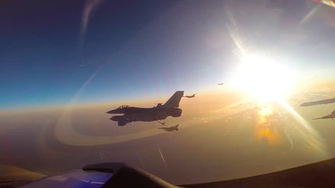 CIRCA 2017 - South Korean F-16 Fighting Falcons perform aerial refueling operations.