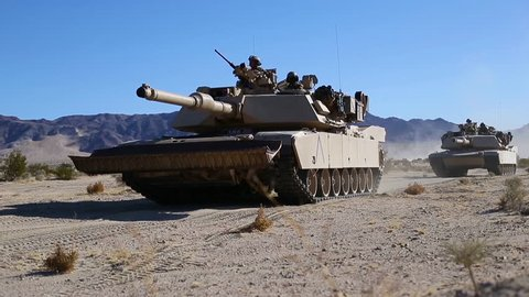 CIRCA 2017 - US Marine tanks roll out in the California desert for Exercise Steel Knight.