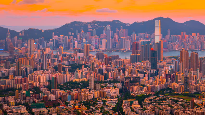 4k time lapse of Sunset Scene of Hong kong Cityscape, View form top of Lion Rock mountain