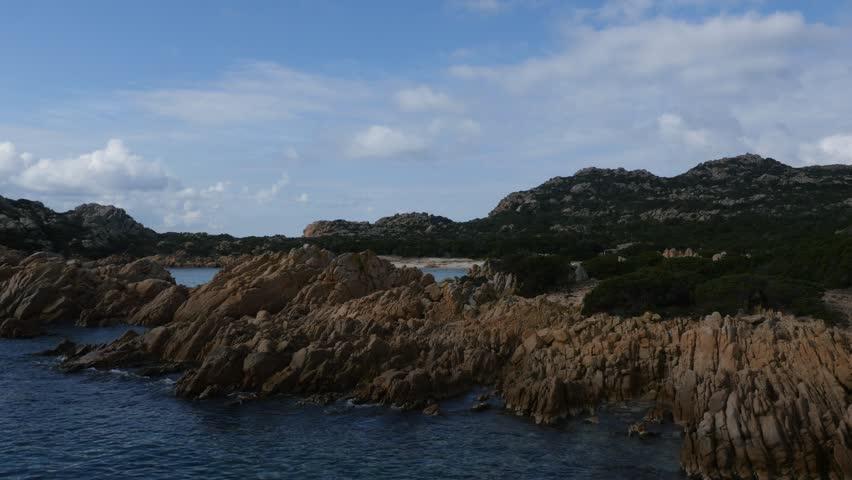 Aerial Drone footage view of island La Maddalena Sassari Sardinia Sardegna in Italy // no video editing
