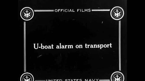 CIRCA 1917 - A German U-Boat tries to torpedo a US Navy ship.