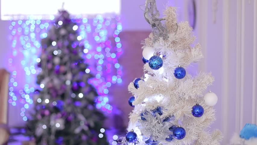 White Christmas Tree With Blue Lights.White Christmas Tree With Blue Stock Footage Video 100 Royalty Free 1013541968 Shutterstock