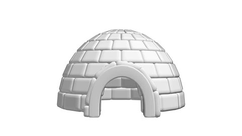 Igloo icehouse isolated on white background Available in 4K FullHD and HD video 3d render footage. Snowhouse or snowhut. Eskimo shelter built of ice