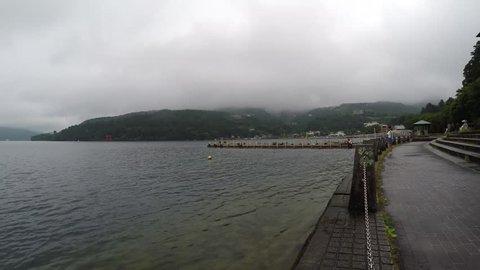 Time Lapse Lake Ashi, Ship, Hakone, Japan