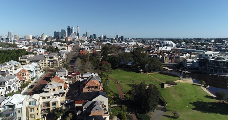 Drove aerial views over East Perth and the cud area of Perth Western Australia