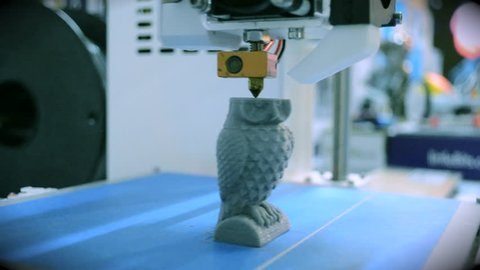 Objects printed by 3d printer. Fused deposition modeling FDM. Progressive modern additive technology. Concept 4.0 industrial revolution. Automatic 3D printer performs plastic modeling in laboratory.