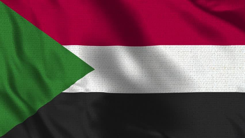 Sudan Flag Loop - Realistic 4K - 60 fps flag of the Sudan waving in the wind. Seamless loop with highly detailed fabric texture. Loop ready in 4k resolution