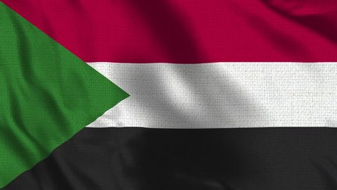 Sudan Flag Loop - Realistic 4K - 60 fps flag of the Sudan waving in the wind. Seamless loop with highly detailed fabric texture. Loop ready in 4k resolution