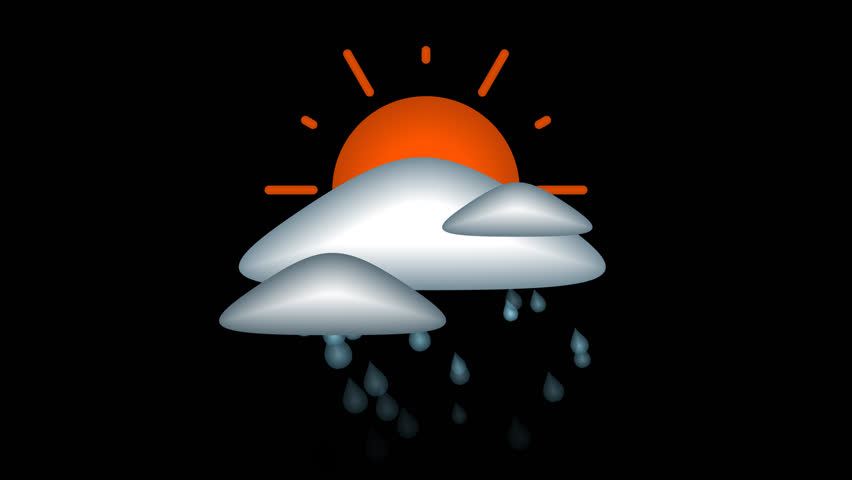 Rain and sun mixed icon, looped animated  4K with alpha channel. | Shutterstock HD Video #1013630888