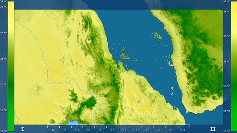 Maximum temperature by month in the Eritrea area with animated legend - raw color shader. Stereographic projection