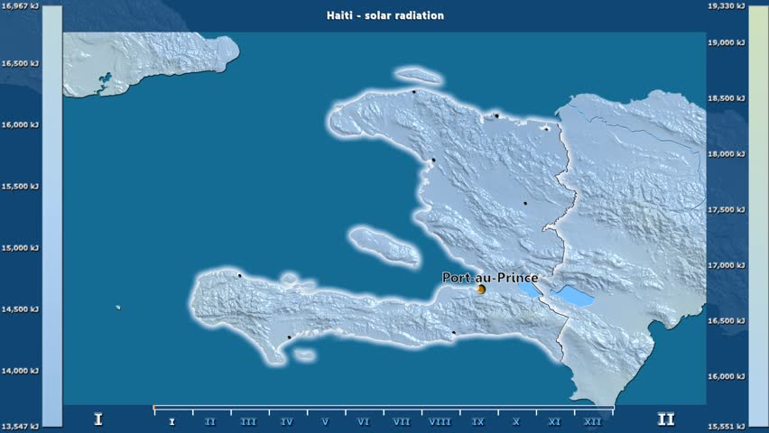 Solar radiation by month in the Haiti area with animated legend - English labels: country and capital names, map description. Stereographic projection