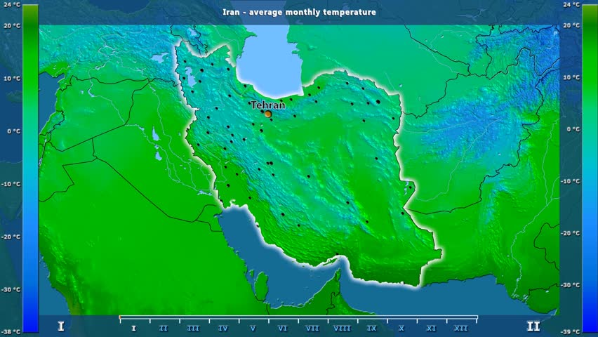 Average temperature by month in the Iran area with animated legend - English labels: country and capital names, map description. Stereographic projection