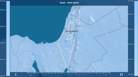 Wind speed by month in the Israel area with animated legend - English labels: country and capital names, map description. Stereographic projection