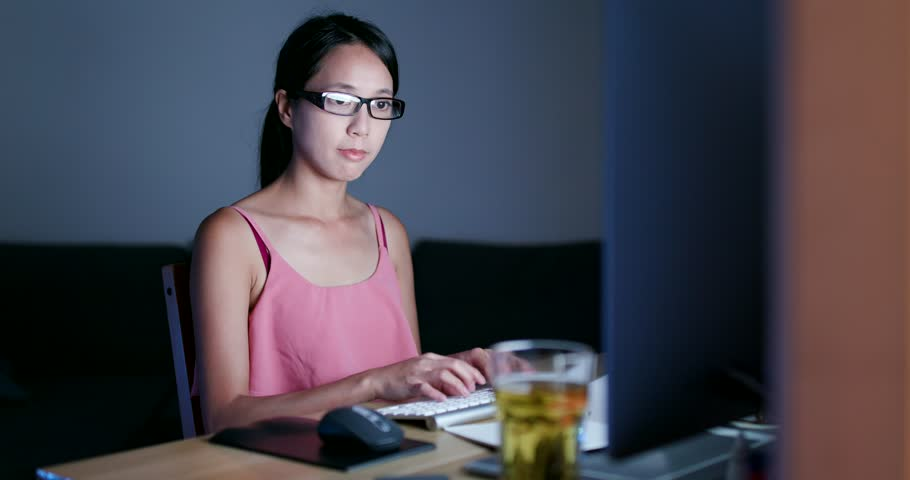 Woman use of the computer and feeling tried   Shutterstock HD Video #1013645198