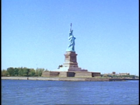 NEW YORK CITY, 1982, POV passing the Statue of Liberty in New York harbor