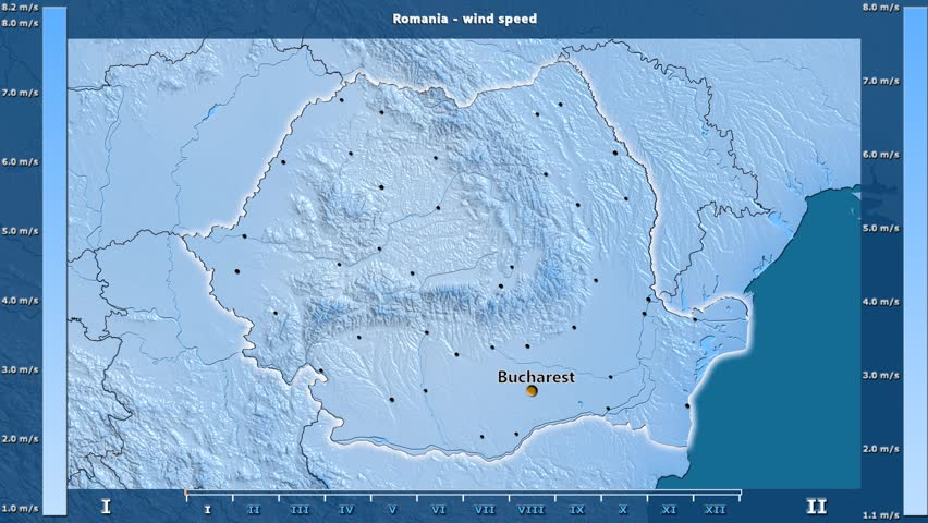 Wind speed by month in the Romania area with animated legend - English labels: country and capital names, map description. Stereographic projection