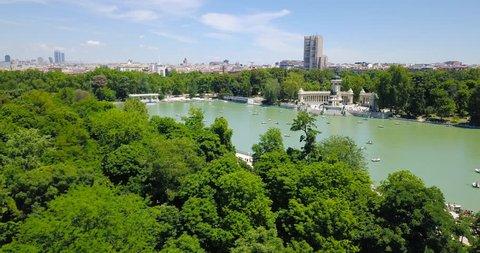 Cityscape landmark Madrid Spain park Retiro aerial view.