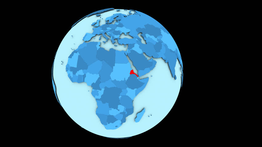 Eritrea in red color on slowly rotating blue political globe. 3D animation.