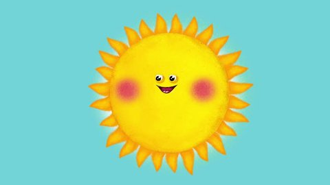 Isolated fun sun cartoon character with facial expressions. Seamless loop, alpha. Useful sun will bring alive your material – film, animation, presentation, etc...