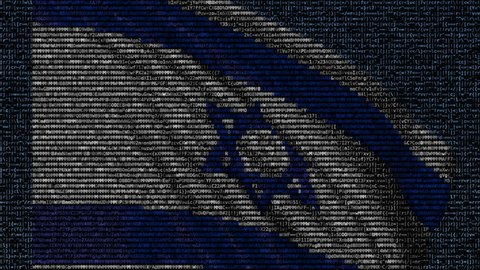 Waving flag of Israel made of text symbols on a computer screen. Conceptual loopable animation