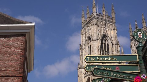 York minster cathedral England UK North Yorkshire Sign post showing highlights of this ancient city 4K