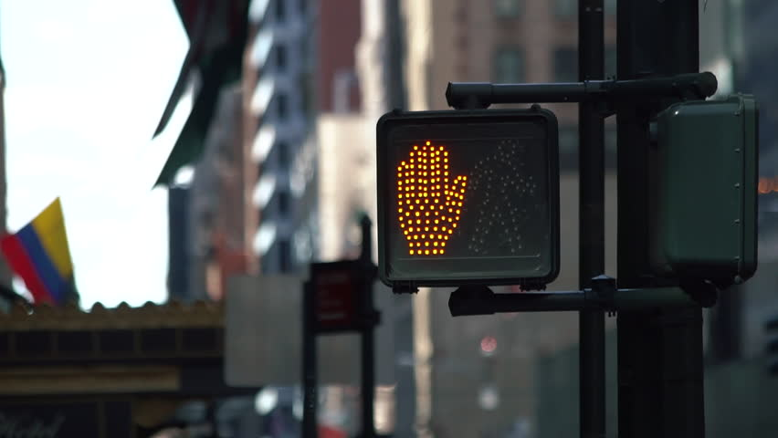 Keep walking New York traffic sign with illuminated and blurred background | Shutterstock HD Video #1013768438