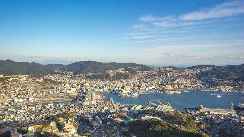 Time Lapse video of Nagasaki skyline in Nagasaki, Japan timelapse 4K
