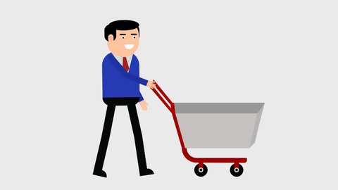 Character in a business suit goes with a shopping trolley, a businessman makes purchases in the store, 2D animation on a transparent background