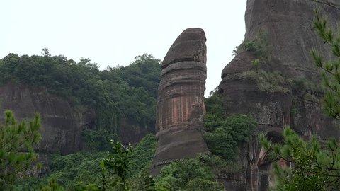 Yang Yuan Stone in the Mount Danxia geopark. Guangdong, China