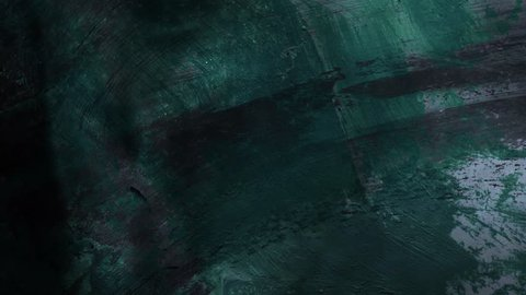 4k. Oil paint texture on paper with moving dust effect. Scattered art. Macro image. Hand made grunge. Art