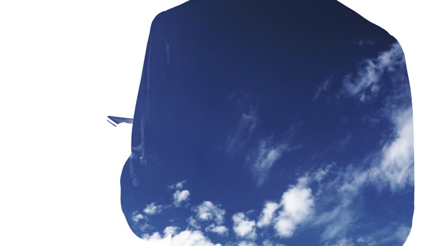 Double exposure of business using smart phone and airplane flying on blue sky | Shutterstock HD Video #1013913578