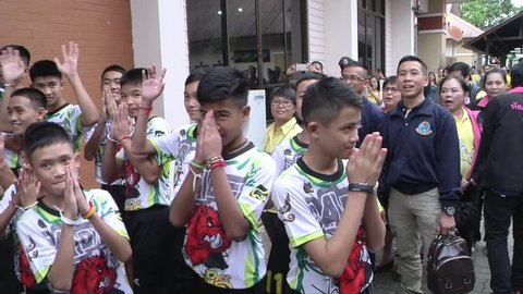 Chiang Rai,Thailand-July 18,2018 : MooPa Academy Team football 12 boys 1 coach trapped in a cave in Tham Luang-Khun Nam Nang Non cave, Walking entrance Press conference room Moopa come back home