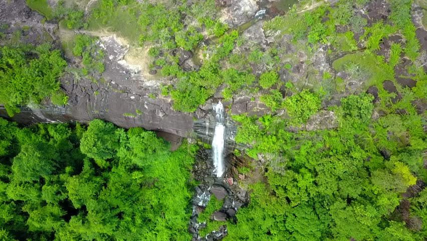 High angle Pha luang waterfall on rocky cliffs limestone in Ubonratchathani province Thailand Asia.Bird eye views Landscape Nature.