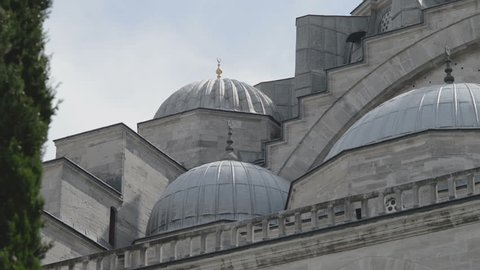 Detail view of dome roof exterior showing the 16th century architecture, Suleymaniye Mosque, Golden Horn, Istanbul