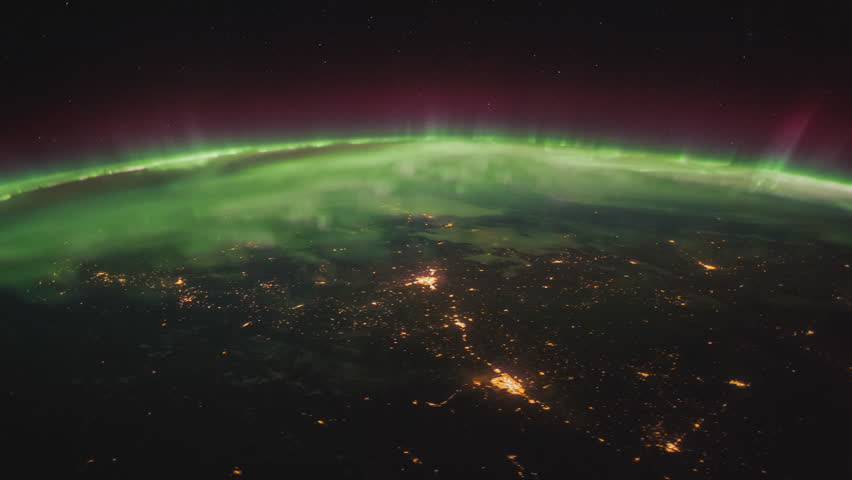 Planet Earth view seen from the International Space Station with Aurora Borealis on September 2017, Time Lapse 4K. Images courtesy of NASA Johnson Space Center. Slide down motion timelapse.