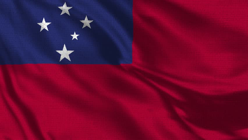 Samoa Flag Loop - Realistic 4K - 60 fps flag of the Samoa waving in the wind. Seamless loop with highly detailed fabric texture. Loop ready in 4k resolution