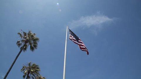 USA flag flying high