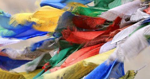 Traveling to north India remote places in Ladakh, Himalaya mountains. Buddhist Prayer flags close up view