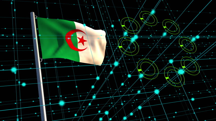 3D animation concept of a digital data stream with an Algerian flag waving on a flagpole in the background; depicting flow of information between nations.