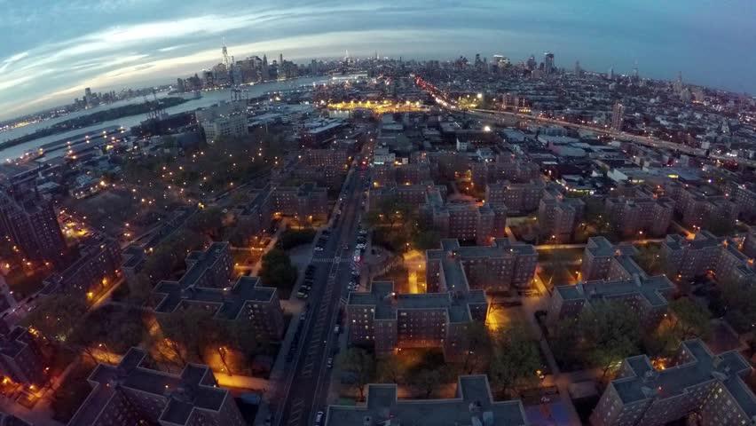 4k Aerial of Red Hook, Brooklyn, NY taken at dusk. | Shutterstock HD Video #10140908